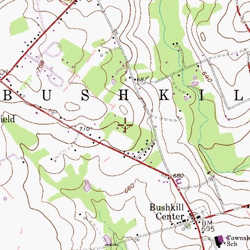 Topographic Map of Bushkill Township Volunteer Fire Company / Bushkill Volunteer Ambulance Corps, PA