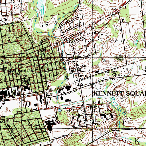 Topographic Map of Kennett Fire Company 1 Station 24, PA