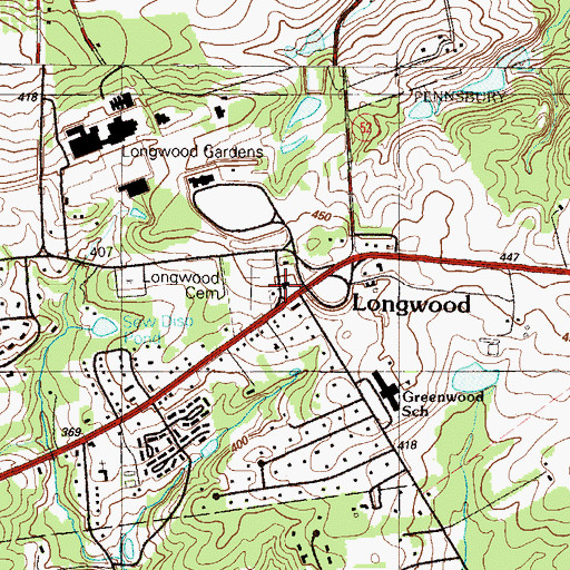 Topographic Map of Longwood Fire Company Station 25, PA