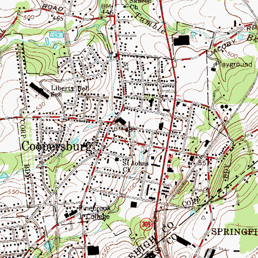 Topographic Map of Coopersburg Fire Company Station 4, PA