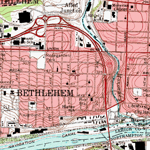Topographic Map of Bethlehem City Fire Department Memorial Station, PA