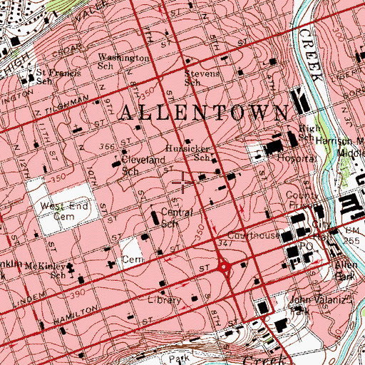 Topographic Map of Allentown Fire Department Central Station, PA