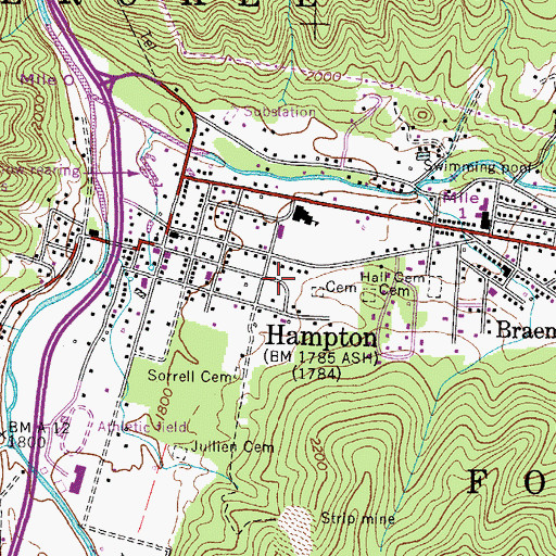 Topographic Map of Hampton / Valley Forge Volunteer Fire Department, TN