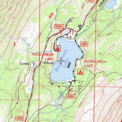 Topographic Map of Rock Creek Lake, CA