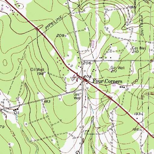 Topographic Map of Grangerland Volunteer Fire Department Station 2, TX
