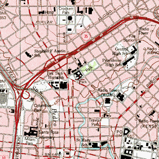 Topographic Map of San Antonio AirLIFE, TX