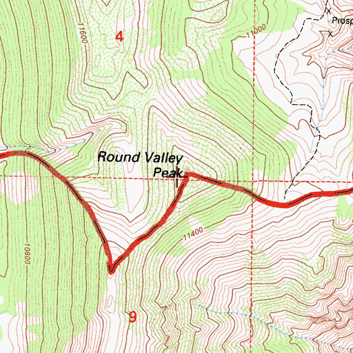 Topographic Map of Round Valley Peak, CA