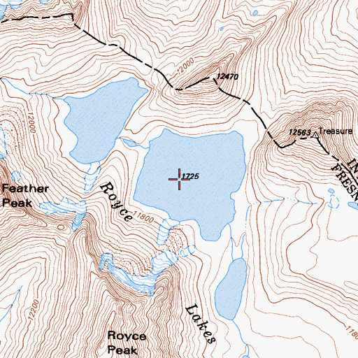 Topographic Map of Royce Lakes, CA