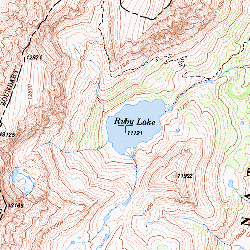 Topographic Map of Ruby Lake, CA