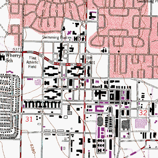 Map Kirtland Air Force Base Topographic Map of Kirtland Air Force Base Department of Defense Fire Department Station 1, NM