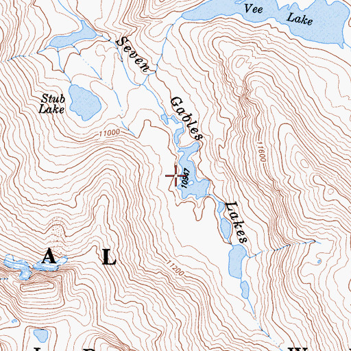 Topographic Map of Seven Gables Lakes, CA