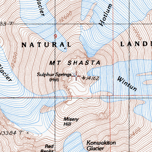 Topographic Map of Mount Shasta, CA
