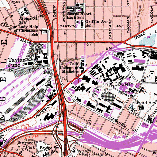 Topographic Map of Los Angeles County and University of Southern California Womens and Childrens Hospital, CA