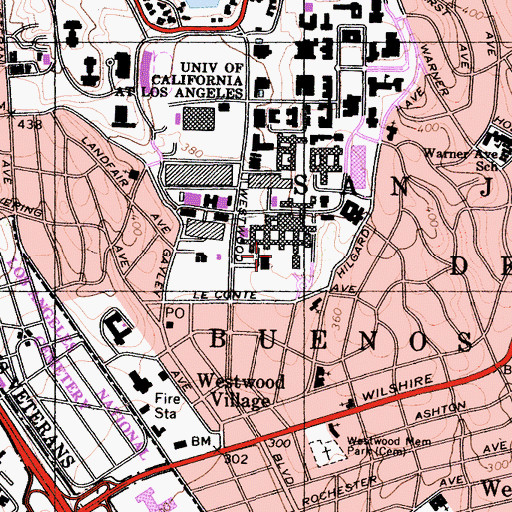 Topographic Map of University of California Los Angeles Medical Center, CA