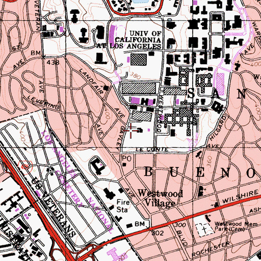 Topographic Map of Resnick Neuropsychiatric Hospital at University of California Los Angeles, CA