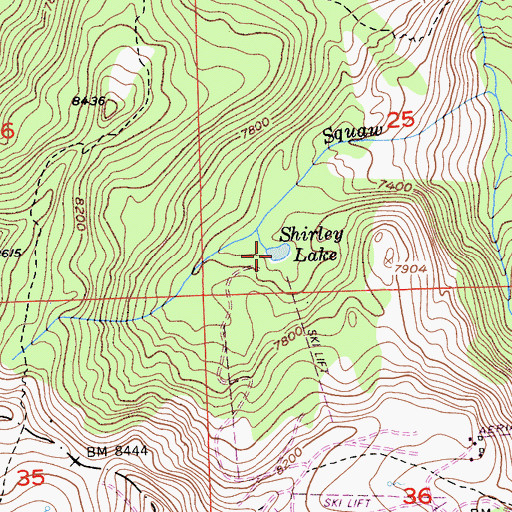 Topographic Map of Shirley Lake, CA