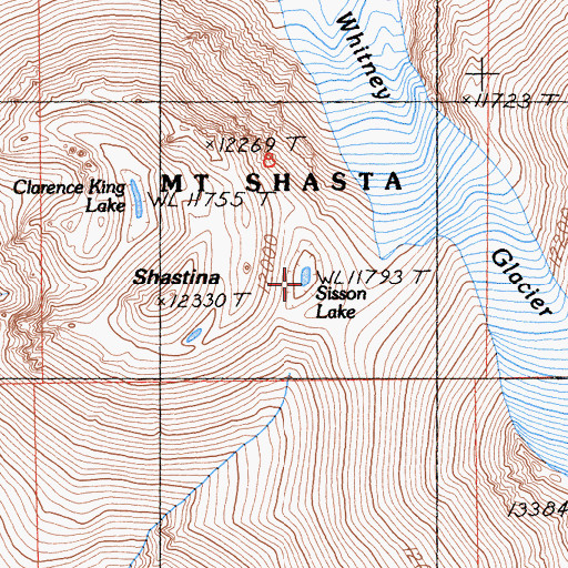 Topographic Map of Sisson Lake, CA