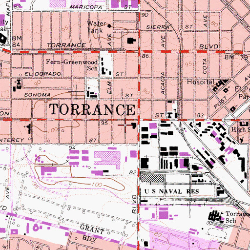 Topographic Map of Torrance Fire Department Fire Station 1 Headquarters, CA