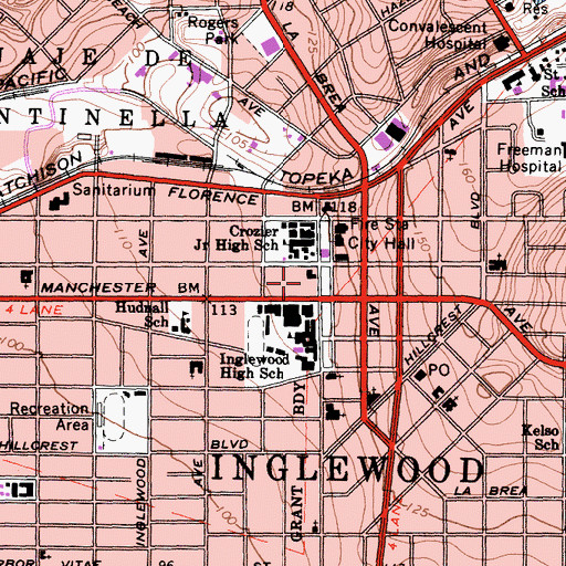 Topographic Map of Inglewood Paramedics, CA