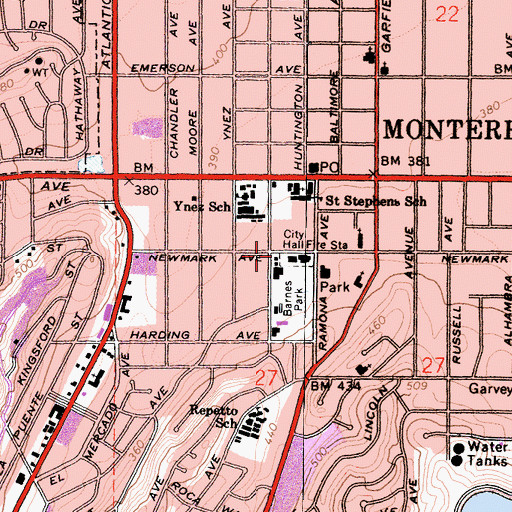 Topographic Map of City of Monterey Park Fire Department Station 61 Headquarters, CA