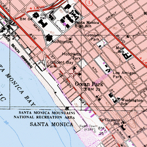 Topographic Map of City of Santa Monica Fire Department Station 2, CA