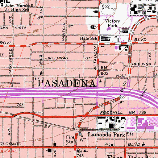Topographic Map of Pasadena Fire Department Station 32, CA