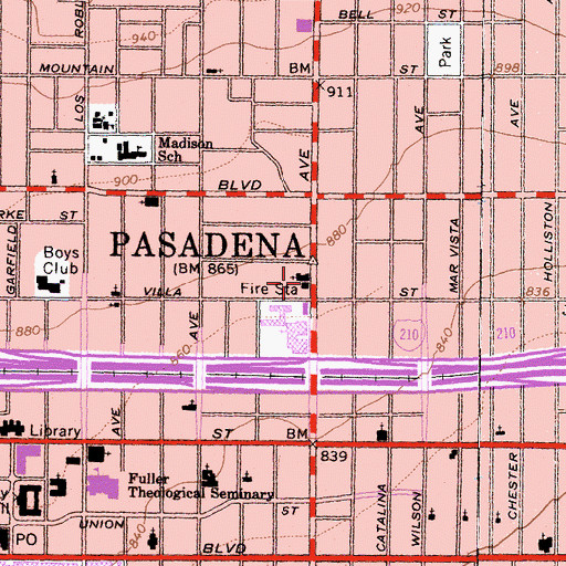 Topographic Map of Pasadena Fire Department Station 33, CA