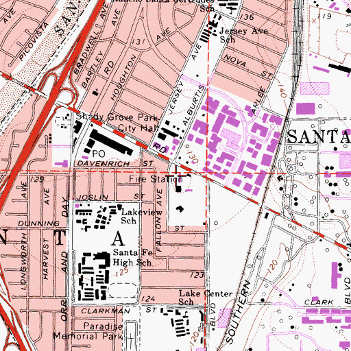 Topographic Map of City of Santa Fe Springs Fire Department Station 4, CA