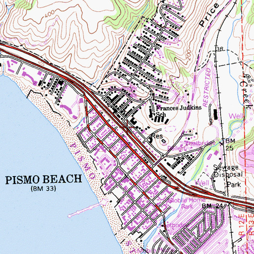 Topographic Map of California Department of Forestry and Fire Protection Station 64 Pismo Beach, CA