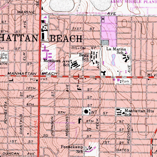 Topographic Map of Manhattan Beach Fire Department Station 2, CA