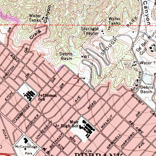 Topographic Map of City of Burbank Fire Department Station 16, CA
