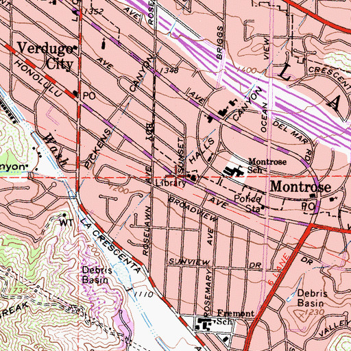 Topographic Map of Glendale Fire Department Station 29, CA