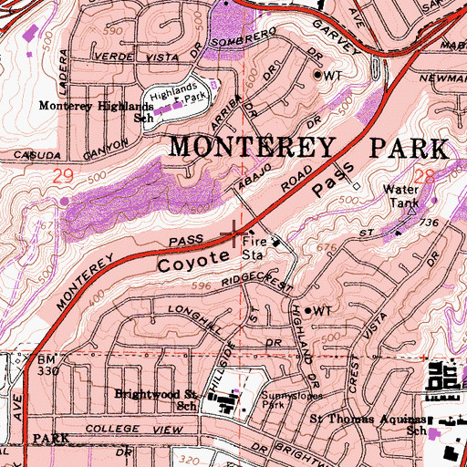 Topographic Map of City of Monterey Park Fire Department Station 63, CA