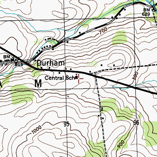 Topographic Map of Durham Elementary School, NY