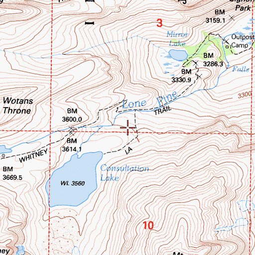 Topographic Map of Mount Whitney Trail, CA