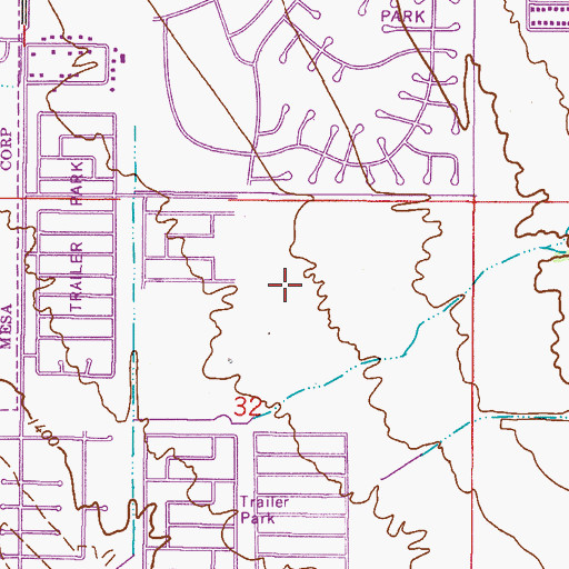 Topographic Map of Brentwood Southern Mobile Home Park, AZ