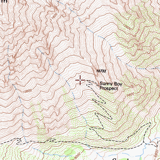 Topographic Map of Sunny Boy Prospect, CA