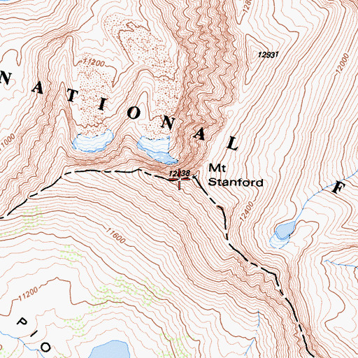 Topographic Map of Mount Stanford, CA