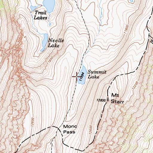 Topographic Map of Summit Lake, CA