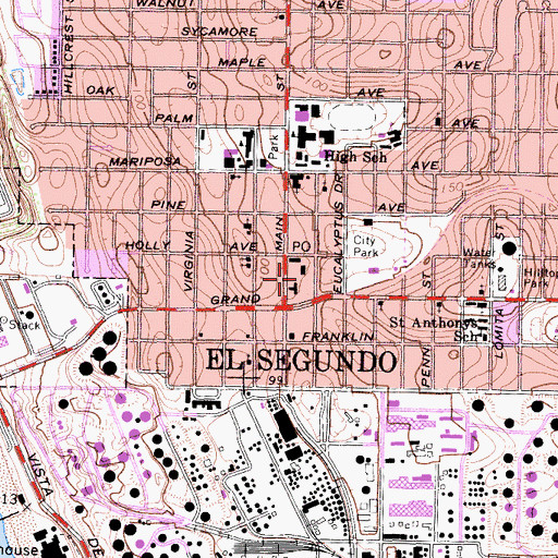 Topographic Map of El Segundo Police Department, CA