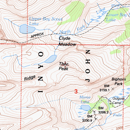 Topographic Map of Thor Peak, CA