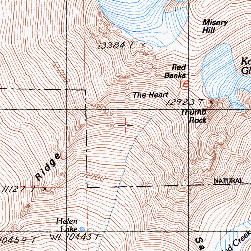 Topographic Map of Thumb Rock, CA