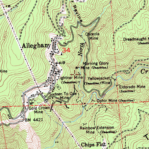 Topographic Map of Tighner Mine, CA