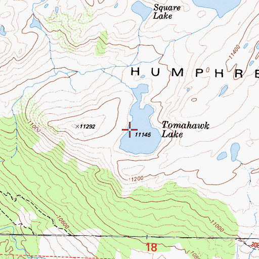 Topographic Map of Tomahawk Lake, CA