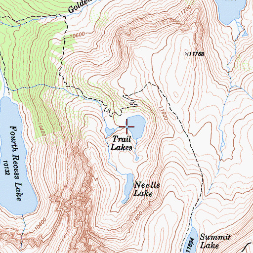 Topographic Map of Trail Lakes, CA