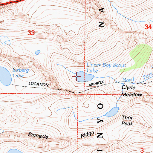 Topographic Map of Upper Boy Scout Lake, CA