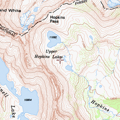 Topographic Map of Upper Hopkins Lakes, CA
