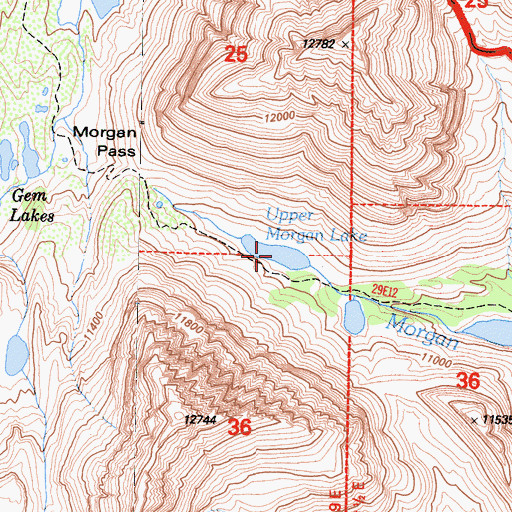 Topographic Map of Upper Morgan Lake, CA