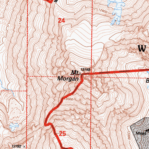 Topographic Map of Wheeler Ridge, CA