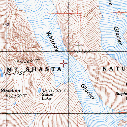 Topographic Map of Whitney Glacier, CA